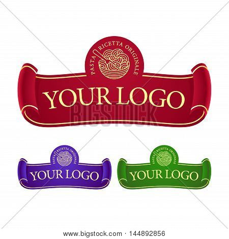 vector pasta restaurant logo with ribbon and graphic sign