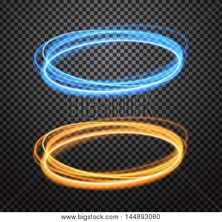 Round light trails vector special effects set with transparency on checkered background. Colorful glowing blue and orange rings design elements for decoration