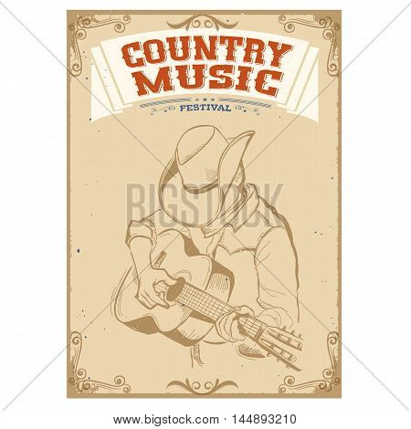 Musician Playing Guitar.country Music Festival Background For Text