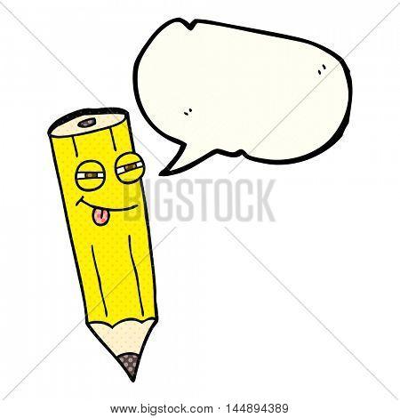 happy freehand drawn comic book speech bubble cartoon sly pencil
