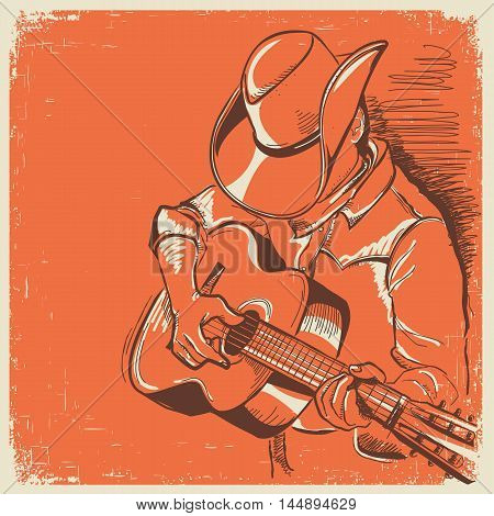 American Country Music Festival With Musician Playing Guitar On Old Texture