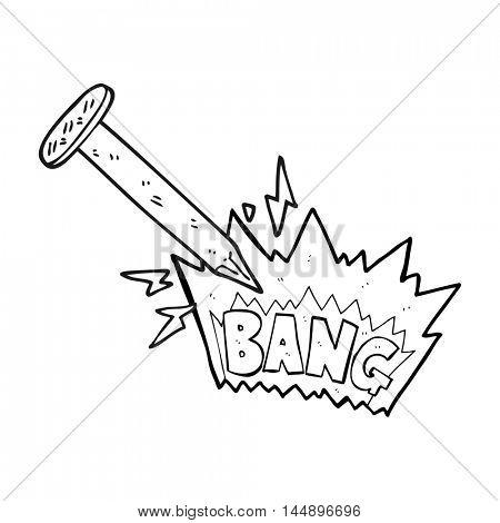 freehand drawn black and white cartoon struck nail