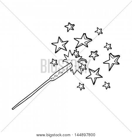 freehand drawn black and white cartoon sparkler