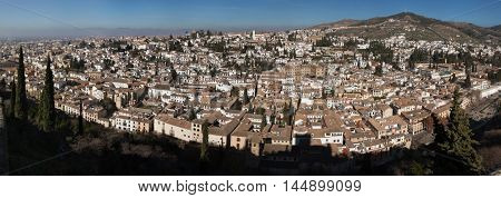 GRANADA, SPAIN - JANUARY 12, 2016: Panorama of El Albayzin district in Granada, Andalusia, Spain, pictured from the Torre del Cubo in the Alacazaba Fortress.