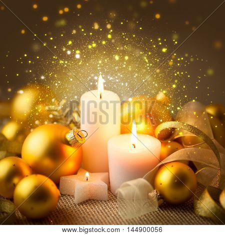 Christmas Golden Candles Background with Baubles and Ribbons - Magic xmas night with beautiful sparkle lights