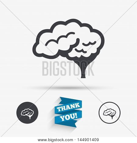 Brain with cerebellum sign icon. Human intelligent smart mind. Flat icons. Buttons with icons. Thank you ribbon. Vector