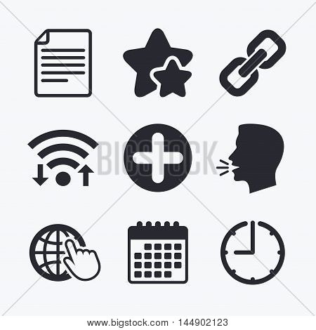 Plus add circle and hyperlink chain icons. Document file and globe with hand pointer sign symbols. Wifi internet, favorite stars, calendar and clock. Talking head. Vector