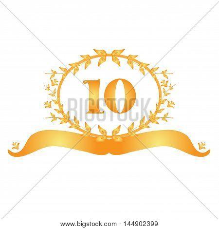 10th anniversary golden floral banner design element
