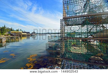 Lobster traps on the dock during the summer season in Maine