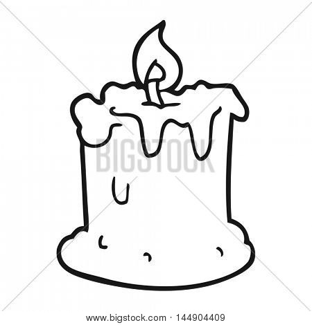 freehand drawn black and white cartoon dribbling candle