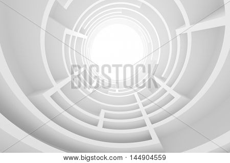 Abstract Architecture Background. 3d Illustration of White Circular Building. Modern Geometric Wallpaper. Futuristic Tunnel Design