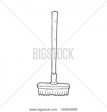 freehand drawn black and white cartoon broom
