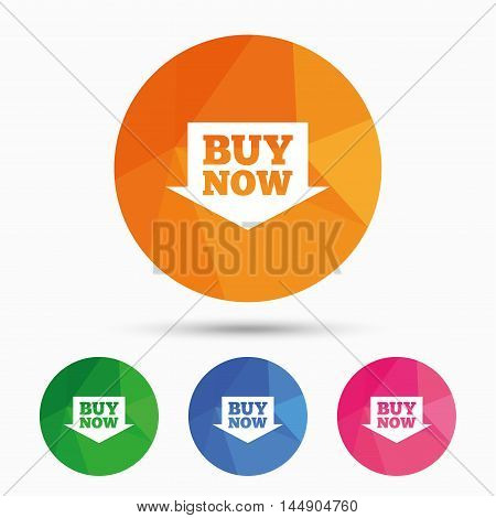 Buy now sign icon. Online buying arrow button. Triangular low poly button with flat icon. Vector
