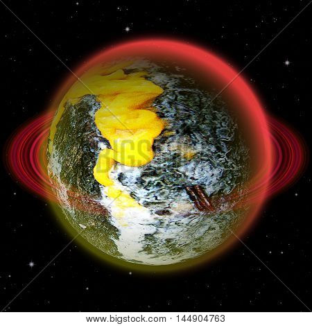 Unknown celestial body with burned surface. Green, white and blue abstract planet with red ring and yellow lava stream