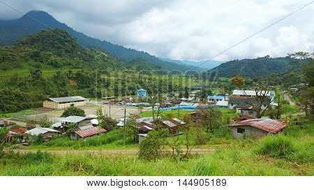 Cosanga, Napo / Ecuador - January 16 2016: Panoramic view of the town of Cosanga