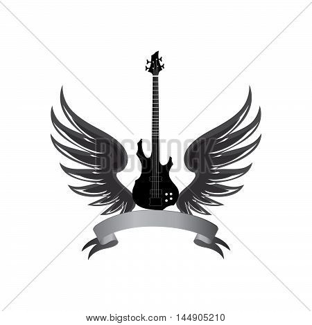 Rock Music Symbol. Electric Guitar With Wings And Bow Ribbon For Text. Muical Instrument Background