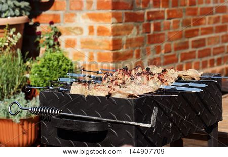 Grilled meat on terrace near brick wall outdoors