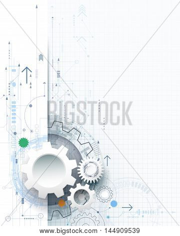 Vector illustration gear wheel hexagons and circuit board Hi-tech digital technology and engineering digital telecom technology concept. Abstract futuristic on light blue color background