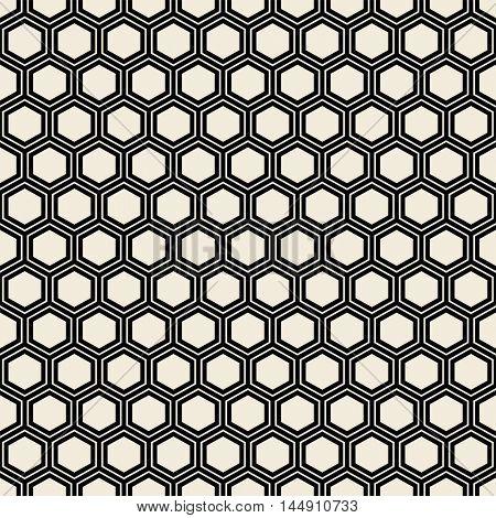 Seamless black hexagon pattern.