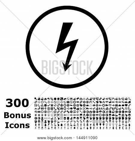 High Voltage rounded icon with 300 bonus icons. Glyph illustration style is flat iconic symbols, black color, white background.