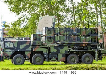 ROSTOCK, GERMANY - AUGUST 2016 Army camouflage transport