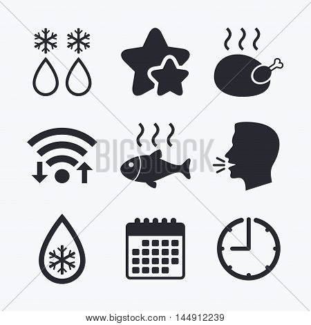 Defrosting drop and snowflake icons. Hot fish and chicken signs. From ice to water symbol. Wifi internet, favorite stars, calendar and clock. Talking head. Vector