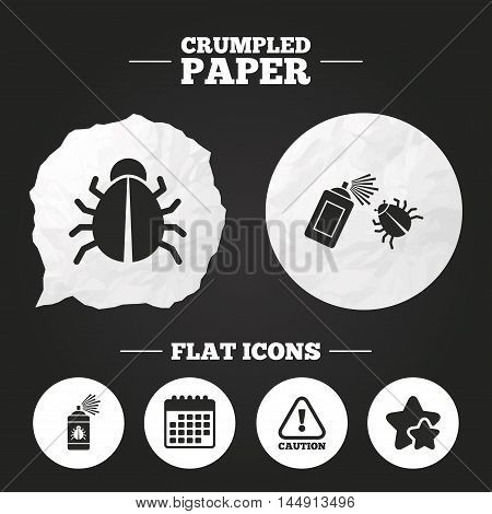 Crumpled paper speech bubble. Bug disinfection icons. Caution attention symbol. Insect fumigation spray sign. Paper button. Vector
