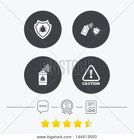Bug disinfection icons. Caution attention and shield symbols. Insect fumigation spray sign. Chat, award medal and report linear icons. Star vote ranking. Vector