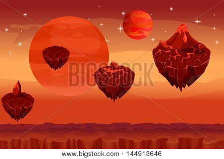 Fantastic space landscape, martian alien planet game seamless background. Panorama island, magma mountain, volcano and fantastic planet, lava nature, vector illustration