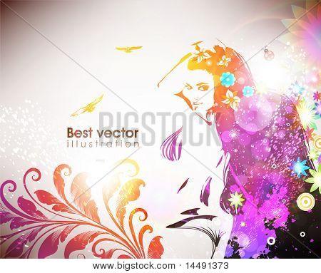 Vrouw met bloemen, vogels en lieveheersbeestje. Voor de verse lente en zomer ontwerp. EPS 10