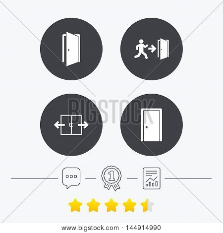 Automatic door icon. Emergency exit with human figure and arrow symbols. Fire exit signs. Chat, award medal and report linear icons. Star vote ranking. Vector