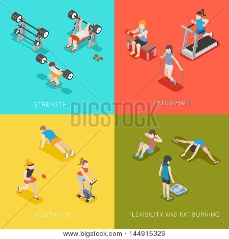 Fitness concept vector backgrounds. Sport endurance, healthy life, strength and fat burning, flexible fitness illustration