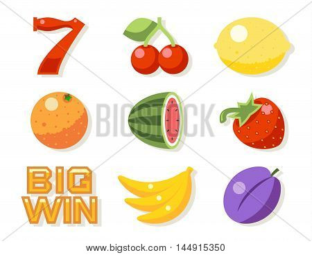 Slot gambling machine vector icons set. Gambling luck, machine slot, game fruit illustration