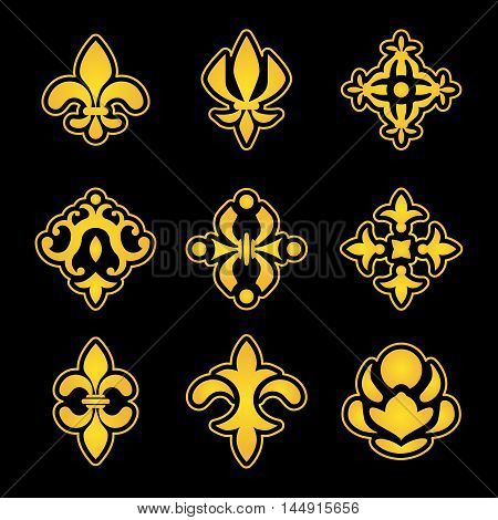 Royal lily elements. Lily flowers stylized vector pattern icons. Medieval heraldic royal lily, ornate element icon illustration