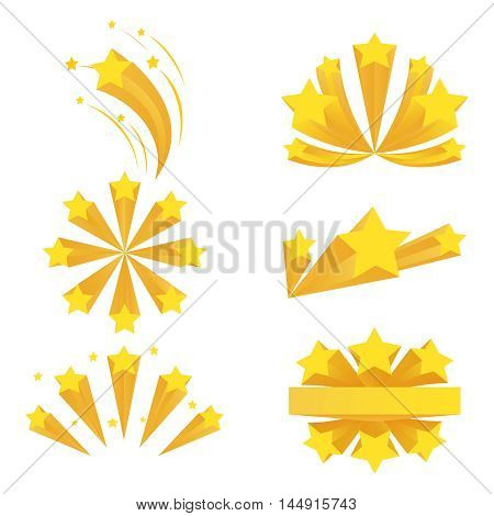 Stars burst elements. Vector stars burst on white background. Star effect, explosion star fireworks, star banger flash illustration