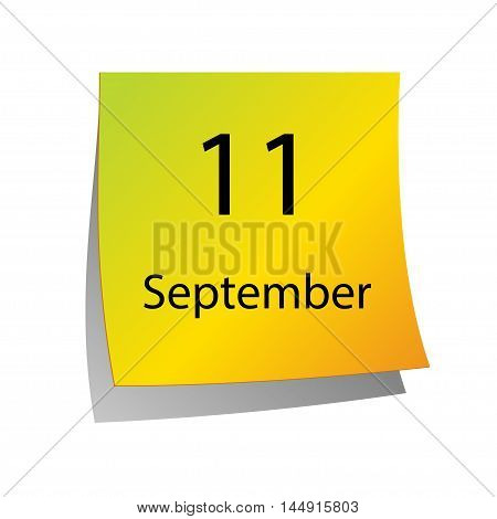 The eleventh of September in Calendar icon on white background