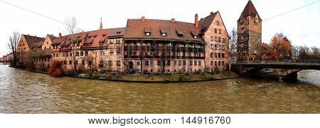 Nuremberg Hospital River Waterfront Old Town Panoramic View