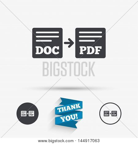 Export DOC to PDF icon. File document symbol. Flat icons. Buttons with icons. Thank you ribbon. Vector