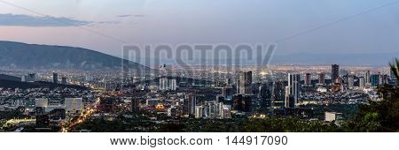 Mexico. Monterrey Cityscape Sunset Landscape Evening Panoramic View