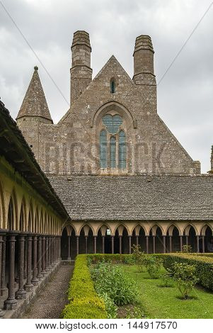 View of the cloister in Mont Saint Michel Abbey France