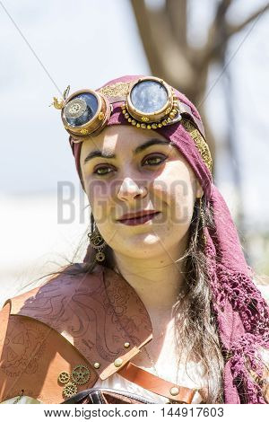CAGLIARI, ITALY - May 29, 2016: Sunday at La Grande Jatte VIII Ed. At the Public Gardens - Sardinia - portrait of a beautiful girl in the steampunk costumes