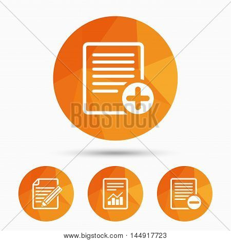 File document icons. Document with chart or graph symbol. Edit content with pencil sign. Add file. Triangular low poly buttons with shadow. Vector