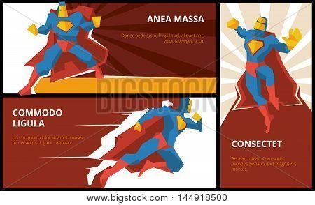 Superhero banners vector set. Superhero power, superhero character, comic superhero illustration