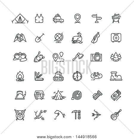 Camping and outdoor vector line icons set. Outdoor camping, travel outdoor, tourism camping, equipment adventure camping outdoor, mountain camping outdoor icon illustration