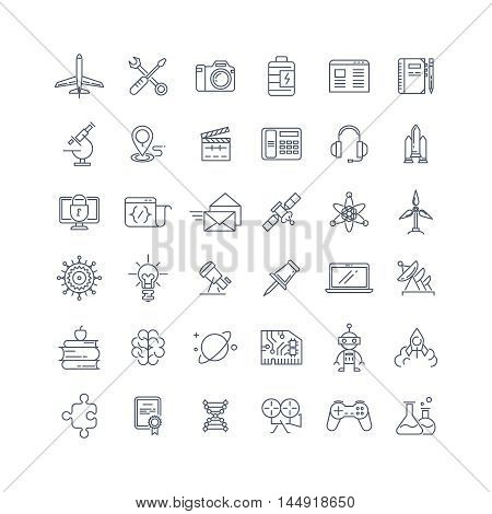 Science, media and internet line vector icons set. Internet media icon, media science, technology internet media, communication media, internet science illustration