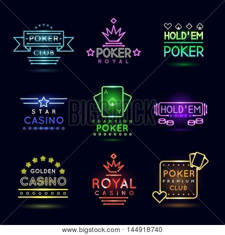 Neon light gambling emblems. Poker club and casino vector sign set. Emblem neon casino, gambling casino neon, casino light neon, game poker illustration