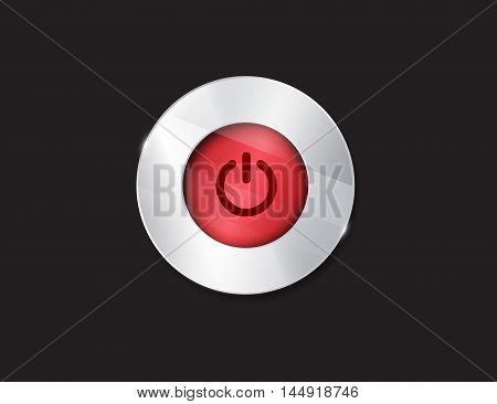 Red glossy power button on black. On Off