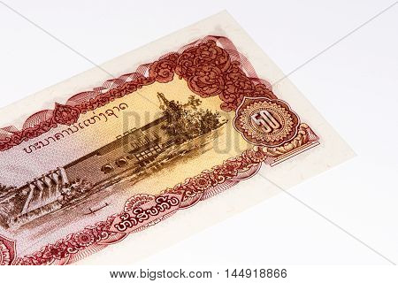 100 kip bank note. Kip is the national currency of Laos.