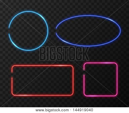 Neon frames vector set on black transparent background. Frame light neon, bright neon, color decoration neon illumination illustration