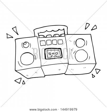 freehand drawn black and white cartoon cassette tape player